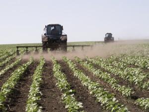 Трактор работает на поле
